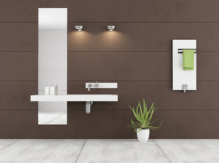 mirror on the wall: Minimalist brown bathroom with white washbasin and radiator on wall - 3D Rendering