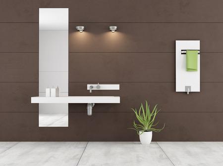 bathroom wall: Minimalist brown bathroom with white washbasin and radiator on wall - 3D Rendering