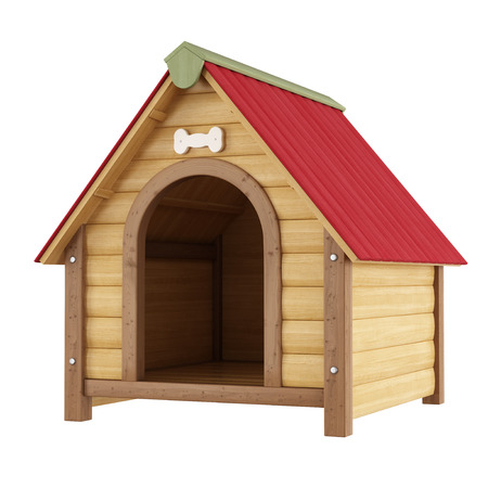 kennel: Dog kennel isolated on white - 3D Rendering