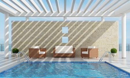 Роскошный сад на даче с бассейном недалеко от моря - 3D рендеринг