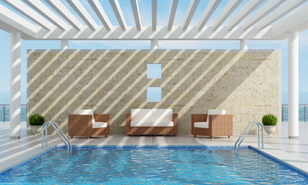 pergola: Luxury Garden of a summer house with pool near the sea - 3D Rendering