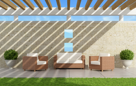 pergola: Garden with  sofas and armchairs under a pergola  - 3D Rendering