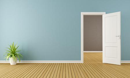 Голубая комната с белым открытой двери - 3D рендеринг