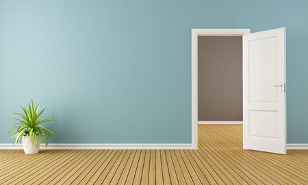 Blue room with white open door - 3D Rendering
