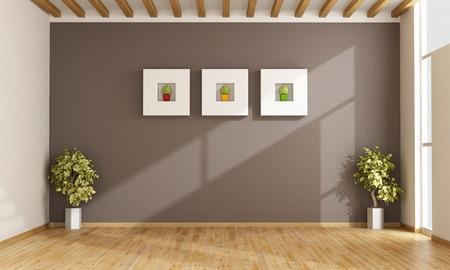 frame on wall: Salone vuoto con pareti marroni, finestre e parquet - Rendering 3D