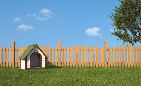 white picket fence: Dog house in the yard