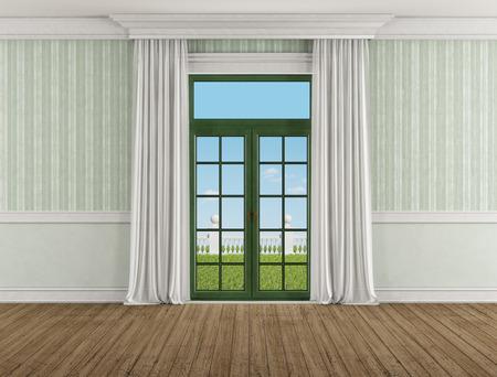sipario chiuso: Camera classica con finestra chiusa e la tenda - Rendering 3D - l'immagine sullo sfondo è una mia composizione di rendering
