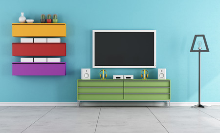 Colorful Living Room with Tv - 3D Rendering Stock Photo