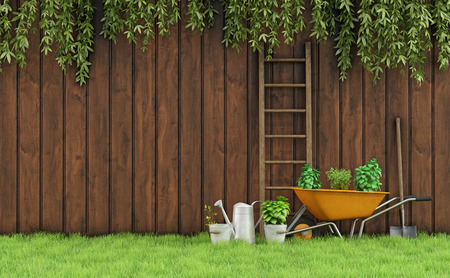 wheelbarrow: Garden with an old wooden fence and tools for gardening-3D Rendering