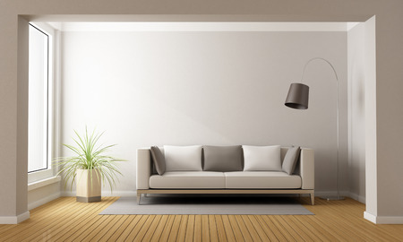 Minimalist living room with sofa on carpet - 3D Rendering Stock Photo