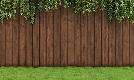 Сад с старый деревянный забор, трава и листья растений-3D-рендеринга