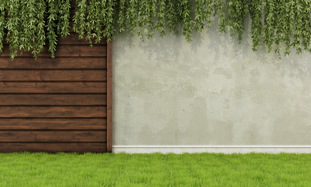 garden background: Garden with old wooden fence and wall - 3D Rendering
