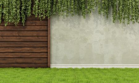 Tuin met oude houten hek en muur - 3D-rendering Stockfoto