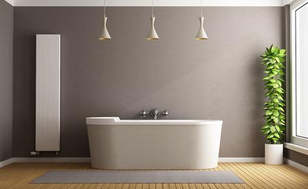 Минималистский ванная комната с элегантной ванной, вертикальной нагревателя и растений - 3D рендеринг