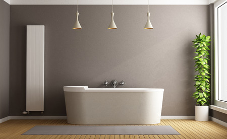 bathtub: Minimalist bathroom with elegant bathtub, vertical heater and plant - 3D Rendering Stock Photo