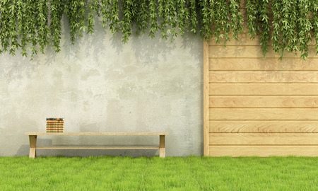 Wooden bench with books in a garden - 3D Rendering Фото со стока