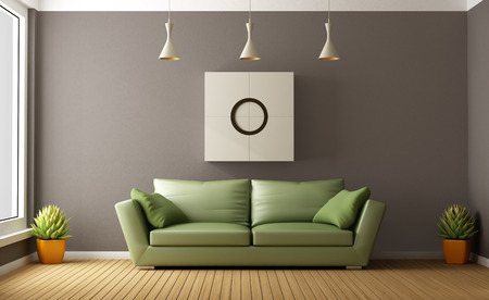 green couch: Modern brown living room with green couch - 3D Rendering