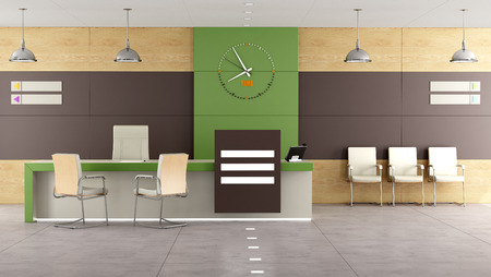 entrances: Contemporary  reception with desk and  chairs - 3D Rendering