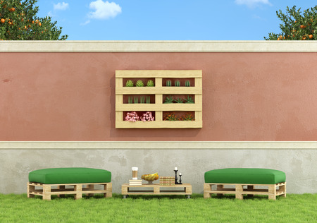 garden furniture: Garden with furniture made from old wooden pallet - 3D Rendering