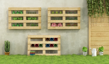 Garden with planters made of recycled wooden pallets - 3D Rendering Stock Photo