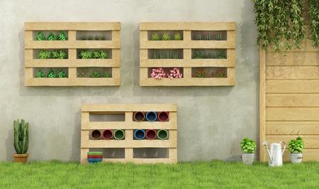 Jardín con jardineras hechas de paletas de madera reciclados - Rendering 3D