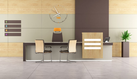 service desk: Contemporary reception with desk and chairs -3D Rendering
