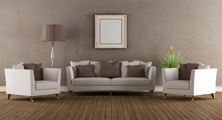 Living room in old style with elegant sofa and two armchairs - 3D Rendering photo