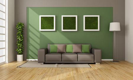 Modern living room with vertical grass in frame on wall - 3D Rendering Imagens