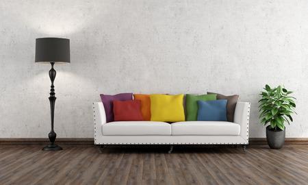 Salón retro con colorido sofá en suelo de madera - 3D Foto de archivo
