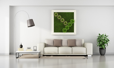 Minimalistischen Wohnzimmer mit vertikaler Garten im Rahmen an der Wand - 3D-Rendering
