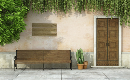 outdoor bench: Country house with old door and bench - 3D Rendering Stock Photo