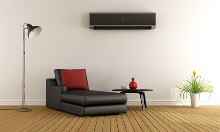 split: Minimalist living room with couch and air conditioner  on wall - 3D Rendering