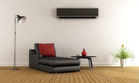 aire acondicionado: Sala de estar con sof� minimalista y aire acondicionado en la pared - Rendering 3D Foto de archivo