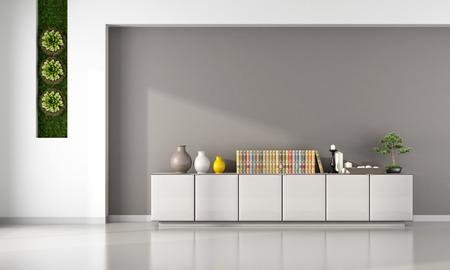 Wohnzimmer mit Kabinett und vertikalen Garten - 3D-Rendering