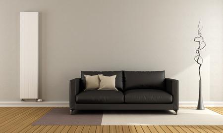 #37158737   Minimalist Liege Mit Schwarzen Couch Und Vertikale Heizung    3D Rendering