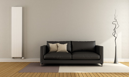 white carpet: Minimalist lounge with black couch and vertical heater - 3D Rendering