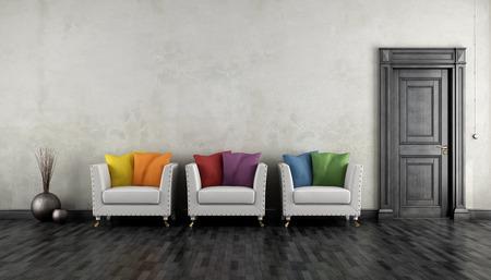 room door: Retro living room with colorful armchair and blck closed door  - 3D rendering Stock Photo