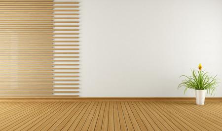 木 - 3 D で装飾的な要素と空の部屋を表示