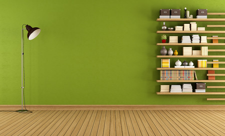 minimalist: Green room with floor lamp and minimalist bookcase - 3D Rendering