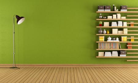 floors: Sitio verde con lámpara de pie y librería minimalista - Rendering 3D