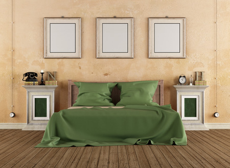 Vintage bedroom with wooden bed and pedestals - 3D Rendering