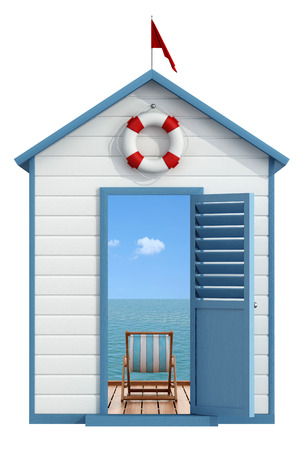 Пляж кабина с открытой дверью, внутри пирса на море с шезлонге - 3D рендеринг