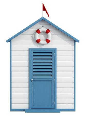 白と青のビーチ キャビン閉じたドア、ブイ、小さな赤い旗 - 3 D レンダリング