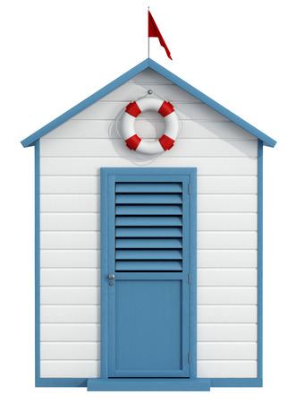 White and blue beach cabin with closed door,buoy and little red flag - 3D Rendering