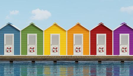 Barevné plážové kabiny na staré dřevěné molo - 3D vykreslování