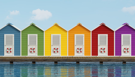 beach buoy: Colorful beach cabins on an old wooden pier - 3D Rendering