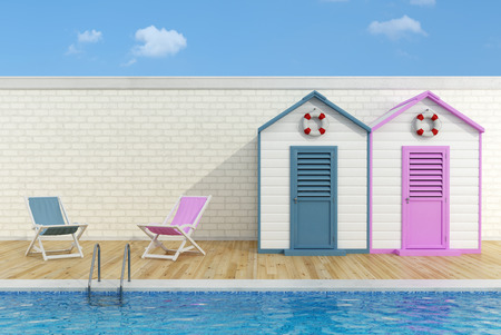 huts: Romantic scene with  blue and pink  cabins and deck chairs poolside - 3D Rendering Stock Photo