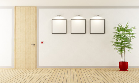 room wall: Empty  white room with  wooden closed door - 3d Rendering Stock Photo