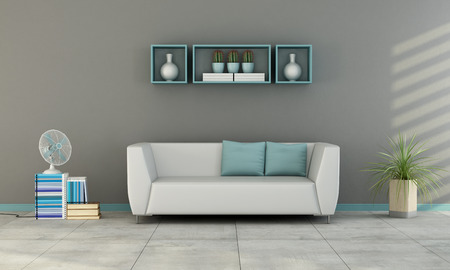 Contemporary living room with white sofa with blue cushion and fan on books - 3D Rendering Standard-Bild
