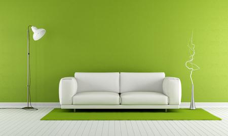 Зеленый зал с белым диваном и лампы - 3D рендеринг Фото со стока